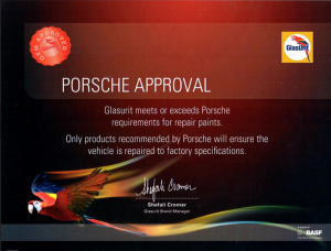 Porsche approval certificate